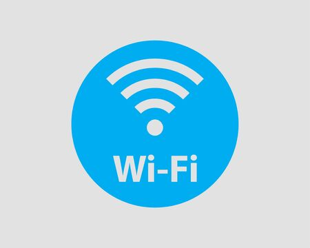 Free wifi icon. Connection zone wifi vector symbol. Radio waves signal. Çizim