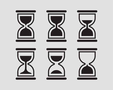 Set hourglass vector flat design. Sand glass icons. Time concept.
