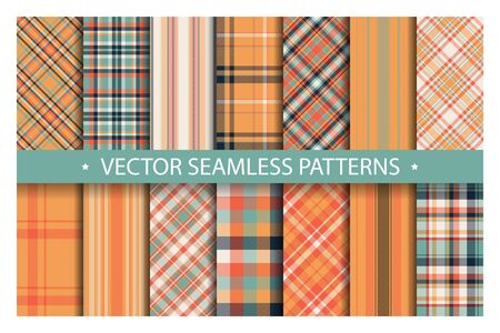 Set plaid pattern seamless. Tartan patterns fabric texture. Checkered geometric vector background. Scottish stripe blanket backdrop. Fashion cloth collection tile flat design textile. Stok Fotoğraf - 129813356