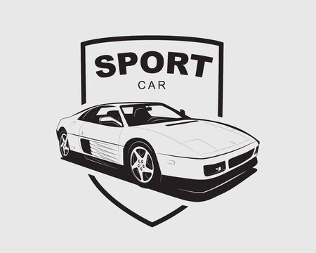 Supercar vector Sport car label. Auto garage symbol template. Illustration