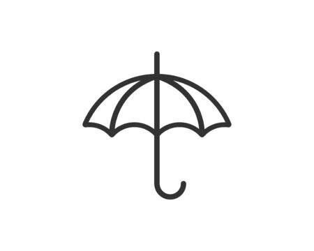Umbrella icon vector. Rain protection. Concept for insurance company. Black and white silhouette flat design.  イラスト・ベクター素材