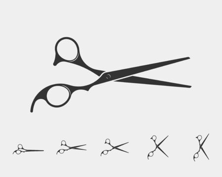Set hair cut scissor icon. Scissors vector design element or   template. Black and white silhouette isolated.
