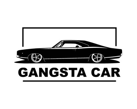 American muscle car vector illustration. Vintage gangsta style low auto with big wheels.