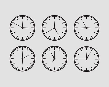 Set clock icon vector. Time line graphic design elements of clocks.
