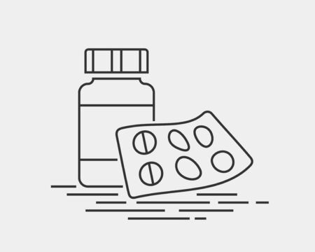 Medical icons vector. Pills icon medicine drug. Black and white silhouette isolated on background. Stock fotó - 129813298