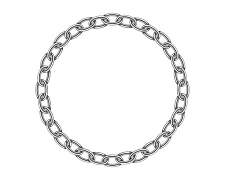 Realistic metal circle frame chain texture. Silver color round chains link isolated on white background. Strong iron chainlet solid three dimensional design element
