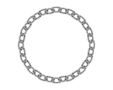 Struttura realistica della catena del telaio del cerchio del metallo. Collegamento di catene rotonde di colore argento isolato su priorità bassa bianca. Robusto elemento di design tridimensionale solido con catena in ferro iron Vettoriali