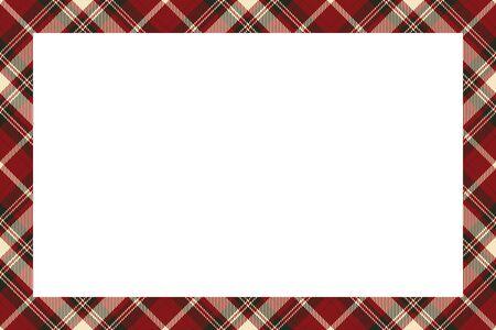 Vector de marco vintage. Estilo retro del patrón de la frontera escocesa. Fondo vacío de belleza, plantilla para foto, retrato, álbum. Adorno de cuadros de tartán.