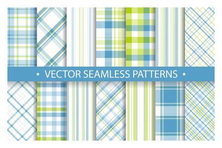 Set plaid pattern seamless. Tartan patterns fabric texture. Checkered geometric vector background. Scottish stripe blanket backdrop. Fashion cloth collection tile flat design textile.