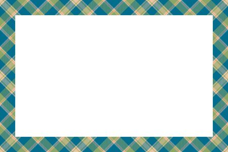 Vintage frame vector. Scottish border pattern retro style. Beauty empty background, template for photo, portrait, album. Tartan plaid ornament. Illustration
