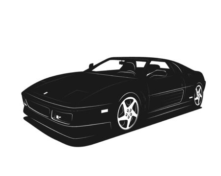 Sport car vector illustration. Black and white silhouette. Power fast luxury vehicle. Template for printing tshirt, auto club sign.