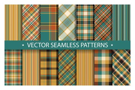 Set plaid pattern seamless. Tartan patterns fabric texture. Checkered geometric vector background. Scottish stripe blanket backdrop. Fashion cloth collection tile flat design textile.
