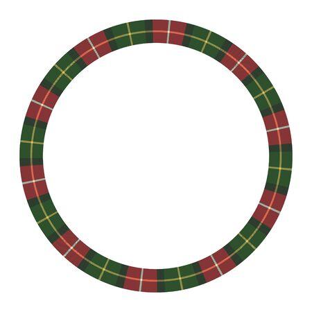 Round frame vector vintage pattern design template. Circle border designs plaid fabric texture. Scottish tartan background for collage art, gif card, handmade crafts. Иллюстрация