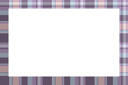 Vintage frame vector. Scottish border pattern retro style. Beauty empty background, template for photo, portrait, album. Tartan plaid ornament. Stock Illustratie