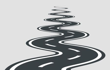 Twisted road vector template isolated on background. Illustration
