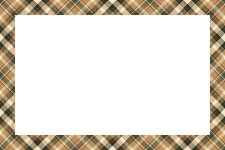 Vintage frame vector. Scottish border pattern retro style. Beauty empty background, template for photo, portrait, album. Tartan plaid ornament. 向量圖像