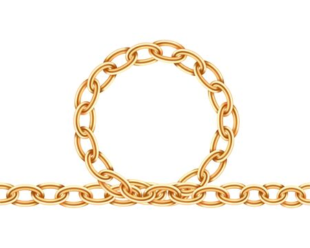 Realistic gold circle frame chain texture. Golden round chains link isolated on white background. Jewelry chainlet three dimensional design element.