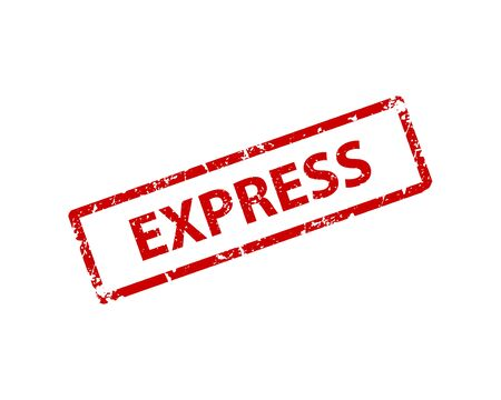 Express stamp vector texture. Rubber cliche imprint. Web or print design element for sign, sticker, label