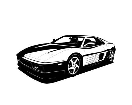 Vektor-Supersportwagen schwarz weißes flaches Design. Modernes Sportwagensymbol für Emblem oder Druck.