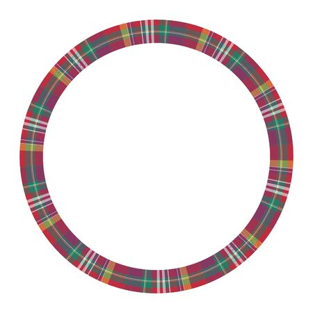 Circle borders and frames vector. Round border pattern geometric vintage frame design. Scottish tartan plaid fabric texture. Template for gift card, collage, scrapbook or photo album and portrait. 版權商用圖片 - 131419813