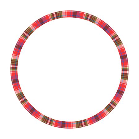 Round frame vector vintage pattern design template. Circle border designs plaid fabric texture. Scottish tartan background for collage art, gif card, handmade crafts. 向量圖像
