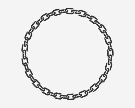 Marco redondo de cadena de textura. Las cadenas del borde del círculo silueta en blanco y negro aislado en el fondo. Elemento de diseño de cadena Ilustración de vector