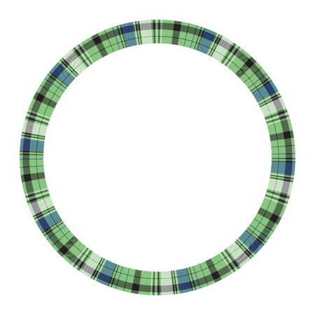 Round frame vector vintage pattern design template. Circle border designs plaid fabric texture. Scottish tartan background for collage art, gif card, handmade crafts. Stock Illustratie