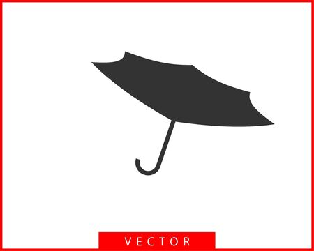 Umbrella icon vector. Rain protection. Concept for insurance company. Black and white silhouette flat design. 向量圖像