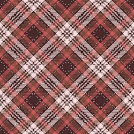 Red plaid fabric texture background seamless pattern. Vector illustration.