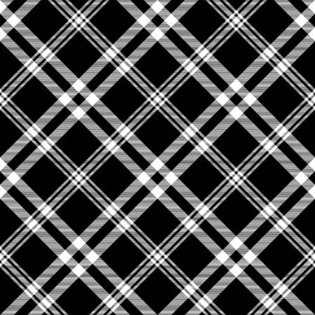 Check black white plaid diagonal texture seamless pattern. Vector illustration.