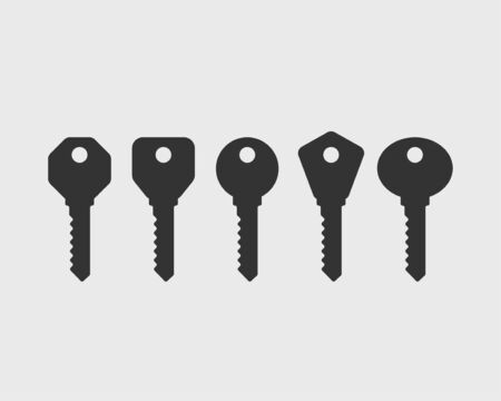 Key icon vector. Keys symbol flat design. Template for sale real estate and renting apartment or house. Stok Fotoğraf - 133061915