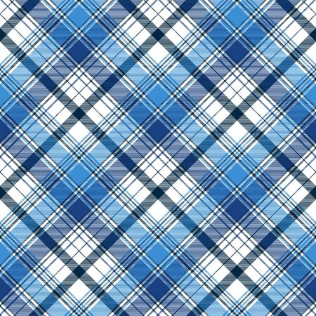 Blue diagonal abstract plaid seamless pattern. Vector illustration.