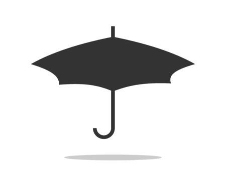 Umbrella icon vector. Rain protection. Concept for insurance company. Black and white silhouette flat design. Stock Vector - 133061272