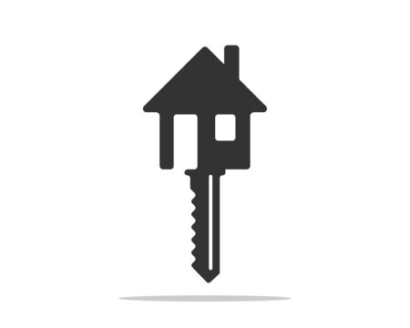 Key icon vector. Keys symbol flat design. Template for sale real estate and renting apartment or house. Çizim