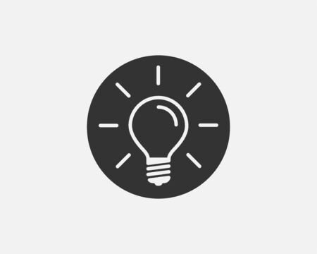 Light bulb icon vector. Light Bulb idea  concept. Lamp electricity icons web design element. Led lights isolated silhouette. 向量圖像