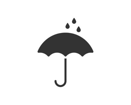Umbrella icon vector. Rain protection. Concept for insurance company. Black and white silhouette flat design. Stock Vector - 133061505