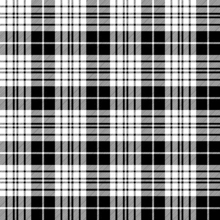 Blackberry clan tartan diagonal black white seamless fabric texture. Vector illustration. Ilustrace