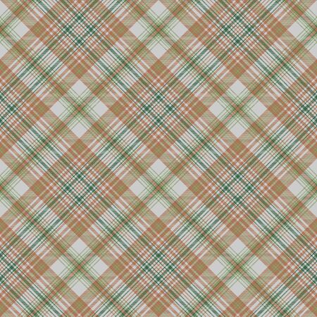 Plaid green gold color seamless fabric texture. Vector illustration. Ilustrace