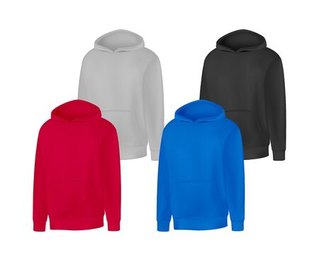 Blank different colors mens hoodie sweatshirt long sleeve. Male hoody with hood front view. Vector template sport winter clothes for design mock up, print, isolated on white background