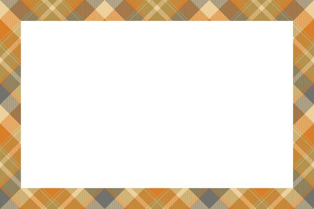 Vintage frame vector. Scottish border pattern retro style. Beauty empty background, template for photo, portrait, album. Tartan plaid ornament. Ilustração