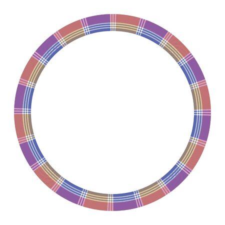 Round frame vector vintage pattern design template. Circle border designs plaid fabric texture. Scottish tartan background for collage art, gif card, handmade crafts. Ilustração