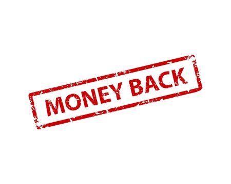 Money back stamp vector texture. Rubber cliche imprint. Web or print design element for sign, sticker, label Illusztráció