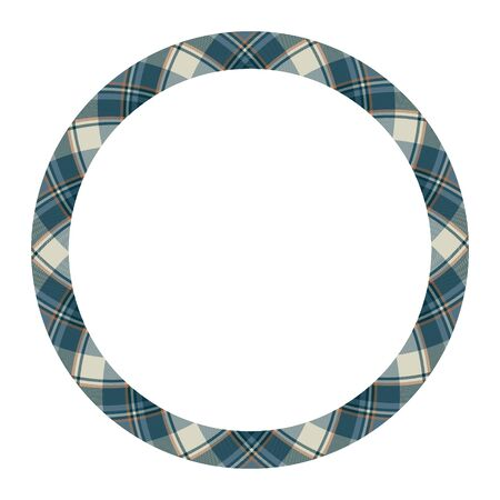 Circle borders and frames vector. Round border pattern geometric vintage frame design. Scottish tartan plaid fabric texture. Template for gift card, collage, scrapbook or photo album and portrait.