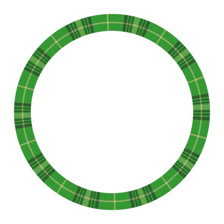 Round frame vector vintage pattern design template. Circle border designs plaid fabric texture. Scottish tartan background for collage art, gif card, handmade crafts. Illusztráció