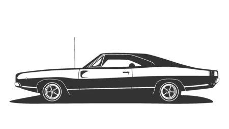 Vettore di muscle car americana. Hot rod vintage con motore elettrico. Progettazione di automobili degli Stati Uniti. Modello per la stampa della maglietta. Stile retrò piatto in bianco e nero.