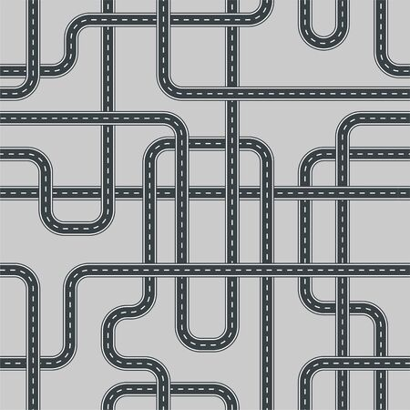 Twisted street and road seamless pattern isolated on background.