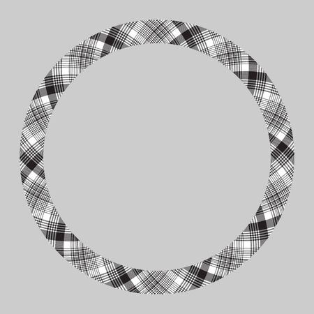 Circle borders and frames. Round border pattern geometric vintage frame design. Scottish tartan plaid fabric texture. Template for gift card, collage, scrapbook or photo album and portrait. Illusztráció