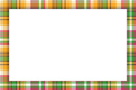 Rectangle frame vintage pattern design template. Border designs plaid fabric texture. Scottish tartan background for collage art, gif card, handmade crafts. Ilustracja