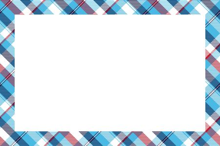 Rectangle borders and Frames. Border pattern geometric vintage frame design. Scottish plaid fabric texture. Template for gift card, collage, scrapbook or album and portrait.