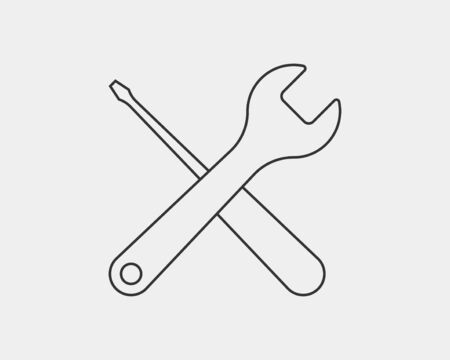 Tools  wrench icon. Spanner design element. Key tool isolated on white background